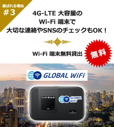 Wi-Fi端末無料貸出:4G-LTE大容量のWi-Fi端末で大切な連絡やSNSのチェックもOK。