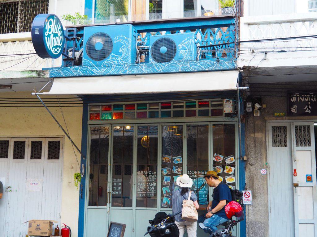バンコクのカフェ「Blue Whale Maharaj」の外観