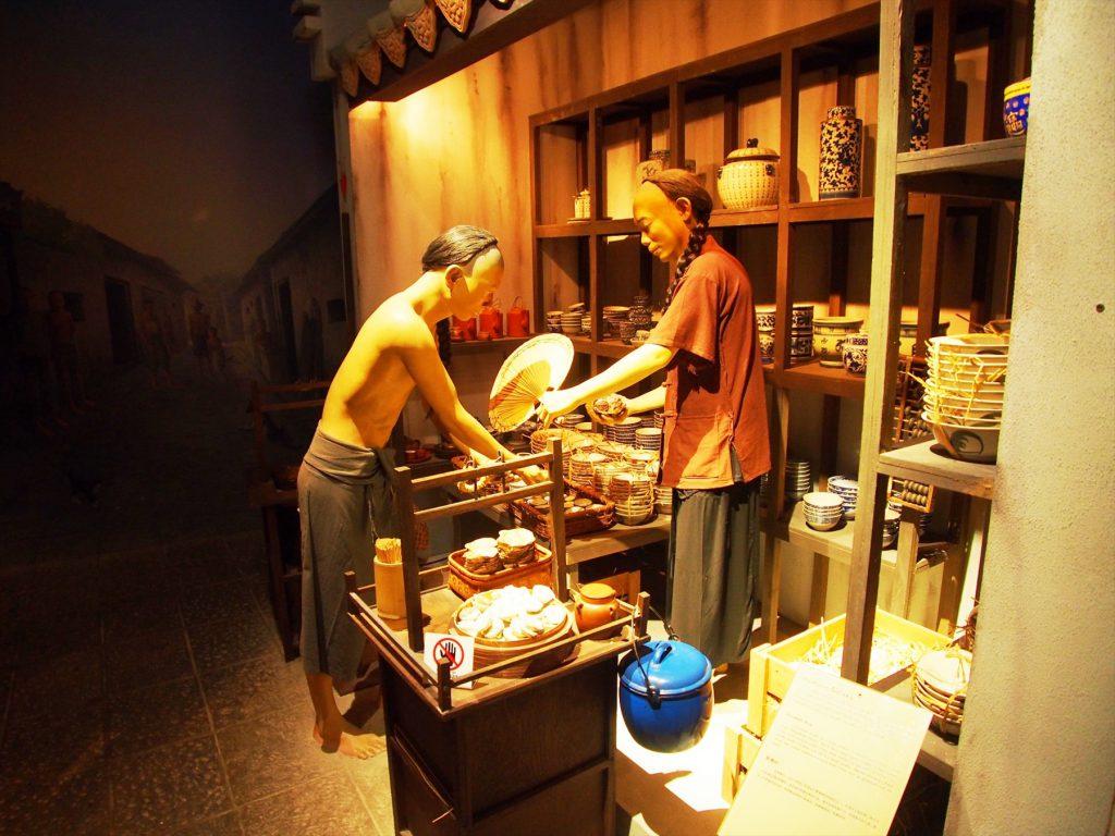 「ワット・トライミット」内の博物館で展示されている当時の華僑の生活