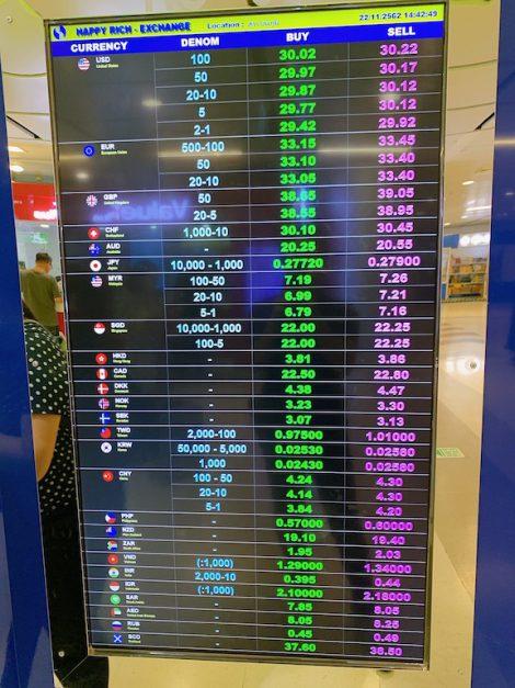 空港地下両替所レート