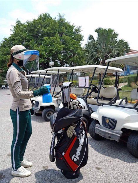 ゴルフバッグ消毒